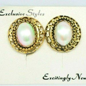 Pcraft Pink Green Faux Pearl Earrings